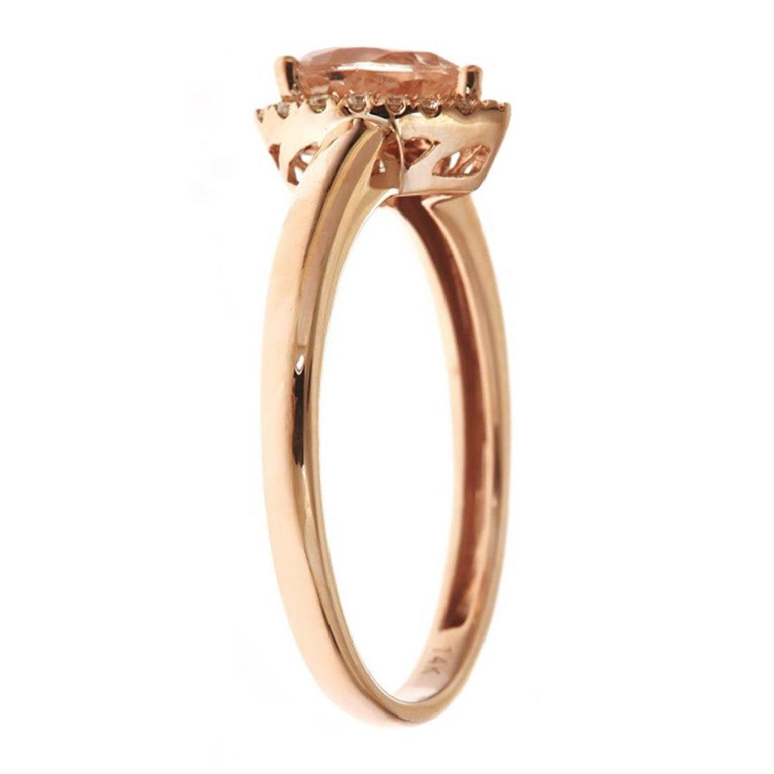 0.55 ctw Morganite and Diamond Ring - 14KT Rose Gold - 2