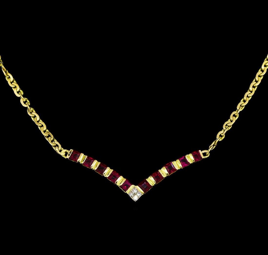 1.70 ctw Ruby and Diamond Necklace - 18KT Yellow Gold - 2