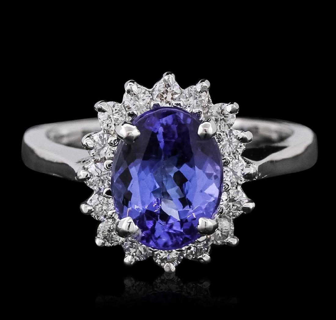 14KT White Gold 2.37 ctw Tanzanite and Diamond Ring - 2
