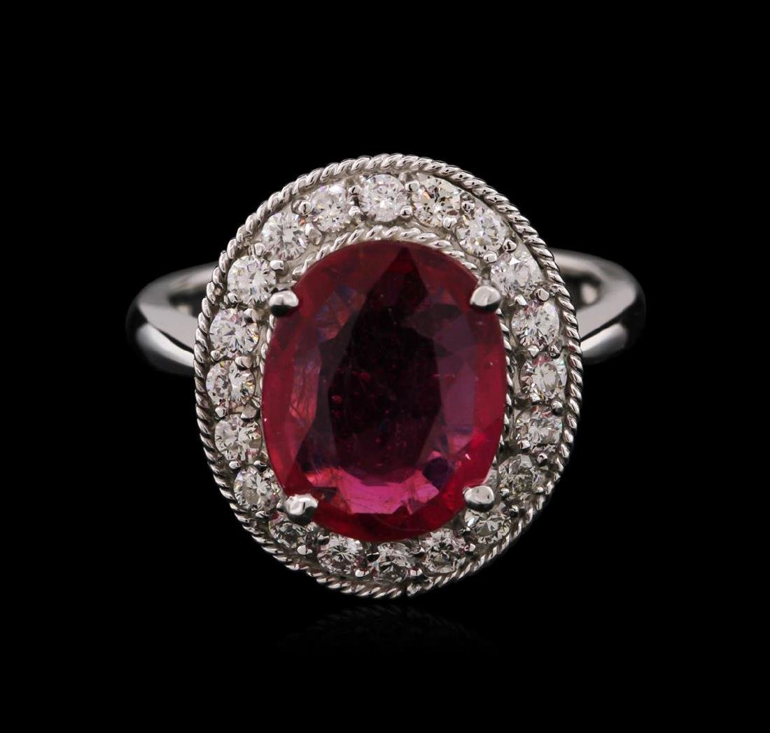 14KT White Gold 3.89 ctw Ruby and Diamond Ring - 2