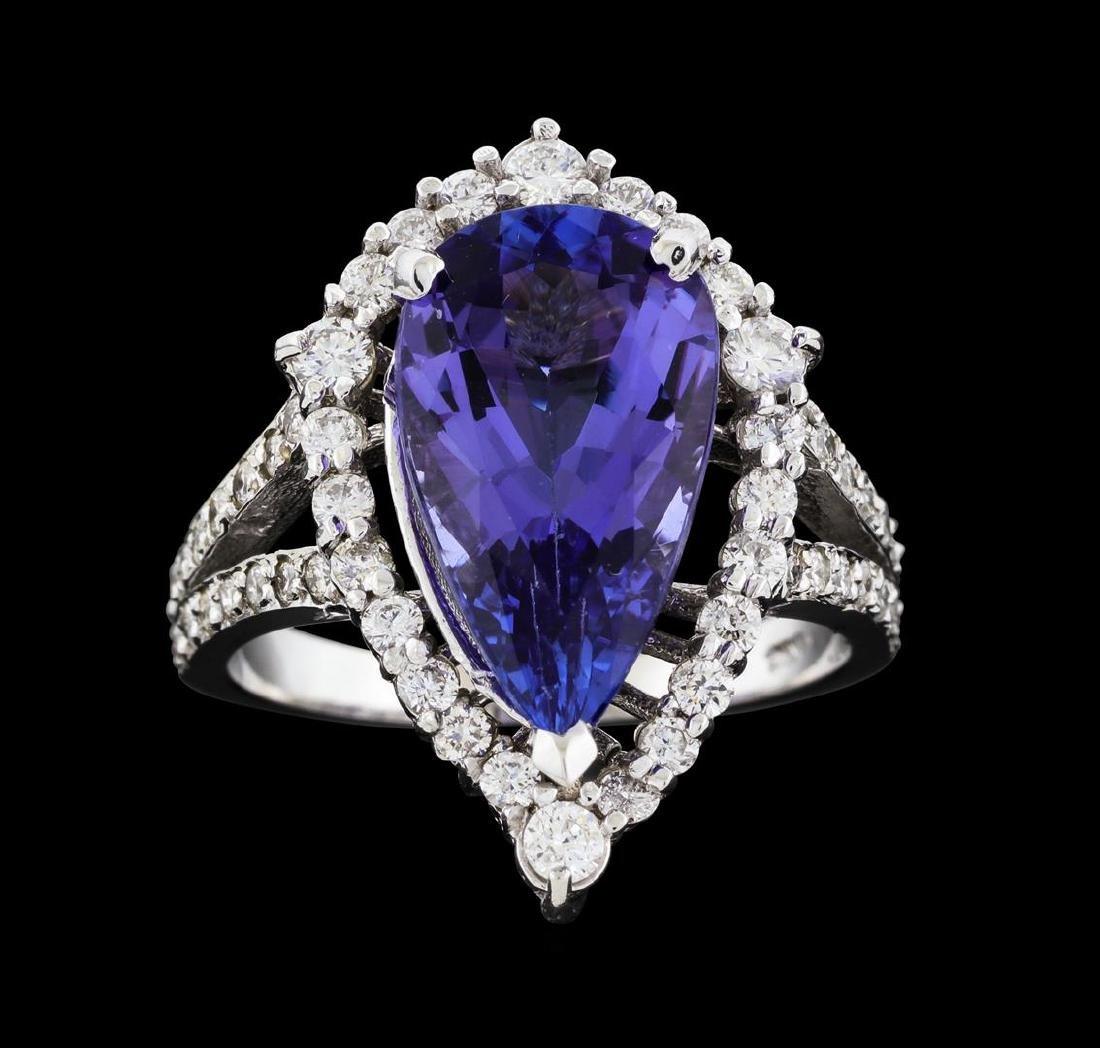4.16 ctw Tanzanite and Diamond Ring - 14KT White Gold - 3