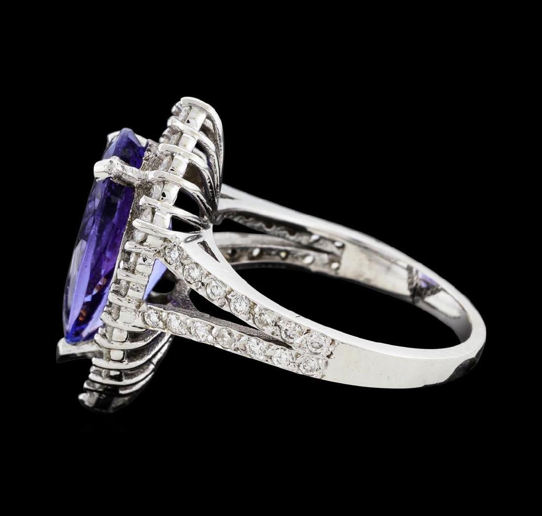 4.16 ctw Tanzanite and Diamond Ring - 14KT White Gold - 4