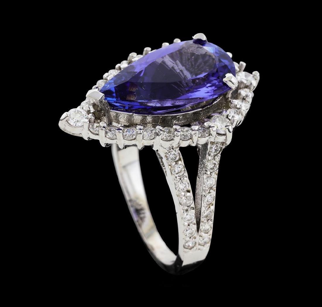 4.16 ctw Tanzanite and Diamond Ring - 14KT White Gold - 5