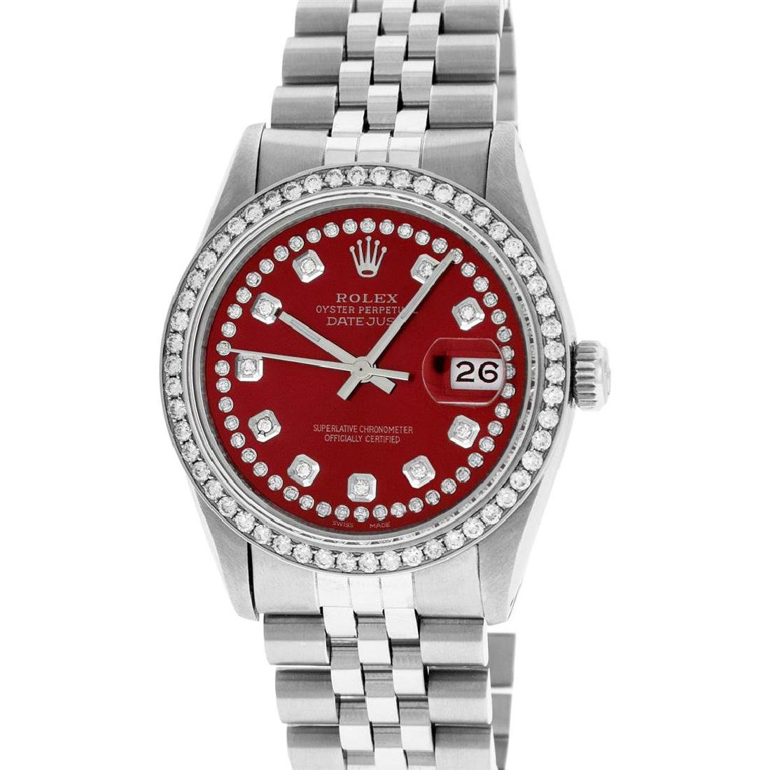 Rolex Mens Stainless Steel Red String Diamond 36MM - 2