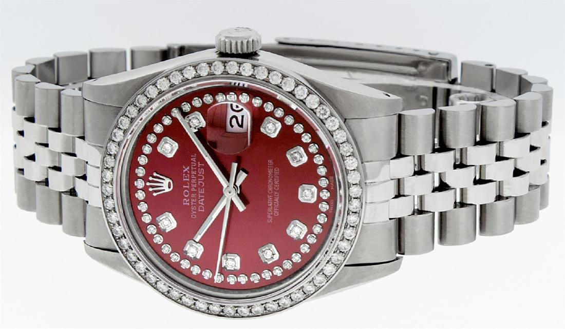 Rolex Mens Stainless Steel Red String Diamond 36MM - 3