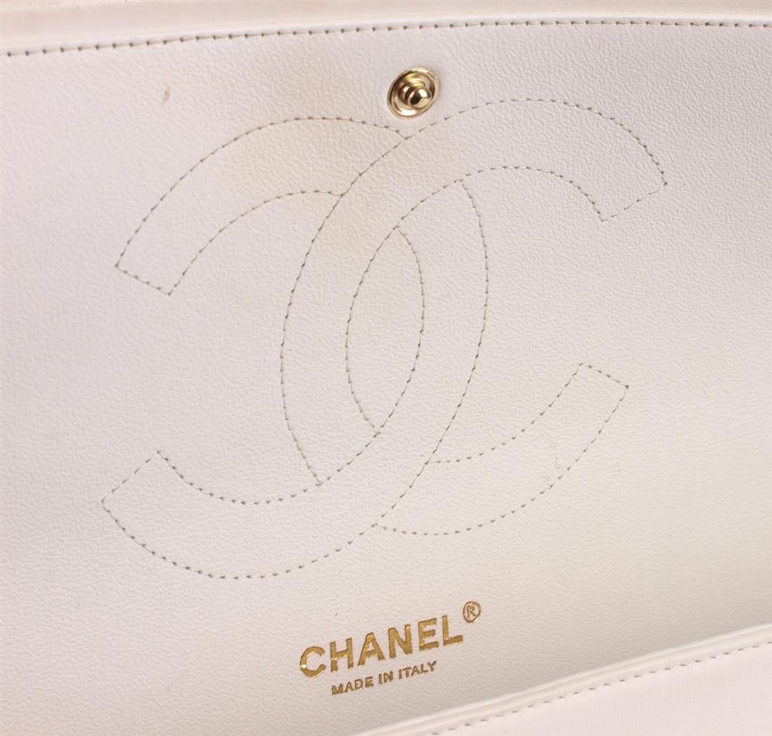 100% Authentic Chanel Flap Bag Jumbo White Lambskin - 6