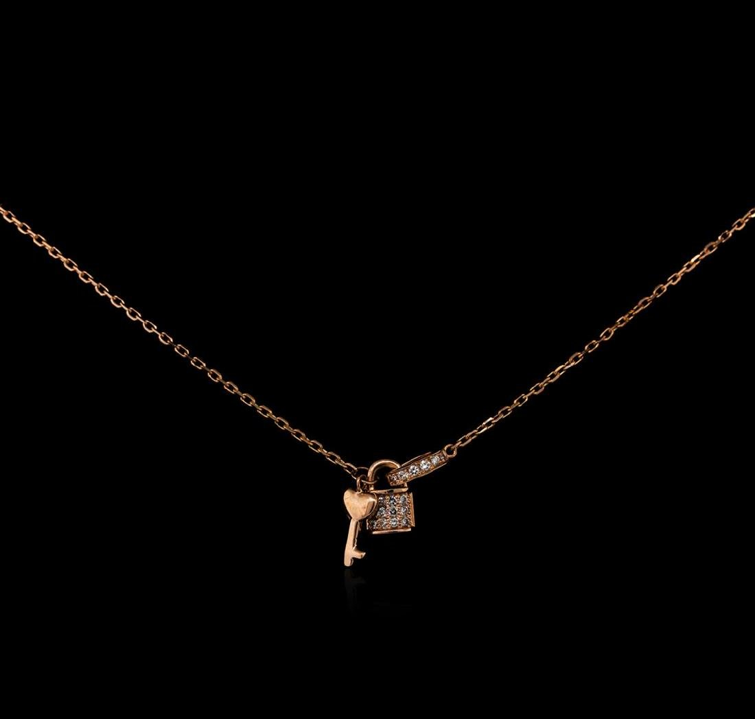 0.12 ctw Diamond Lock and Key Pendant With Chain - 14KT