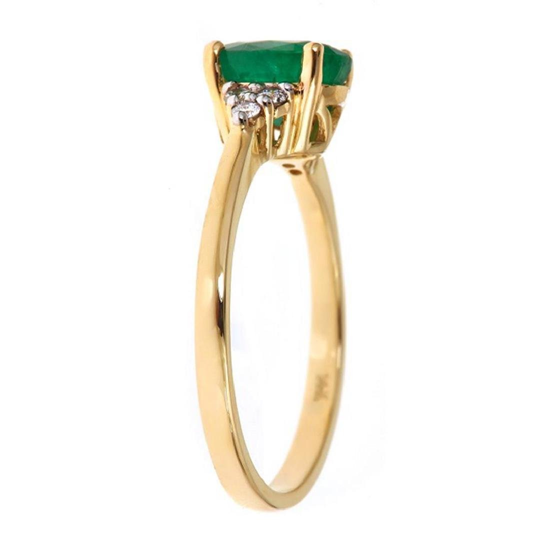 1.22 ctw Emerald and Diamond Ring - 14KT Yellow Gold - 2