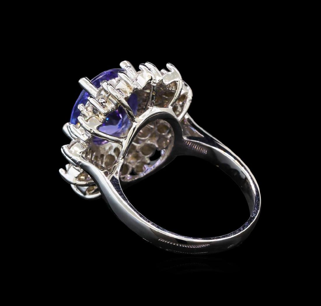14KT White Gold 5.05 ctw Tanzanite and Diamond Ring - 3