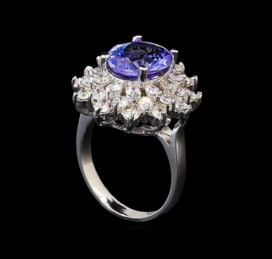 14KT White Gold 5.05 ctw Tanzanite and Diamond Ring - 4