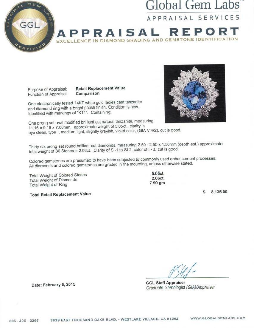 14KT White Gold 5.05 ctw Tanzanite and Diamond Ring - 5