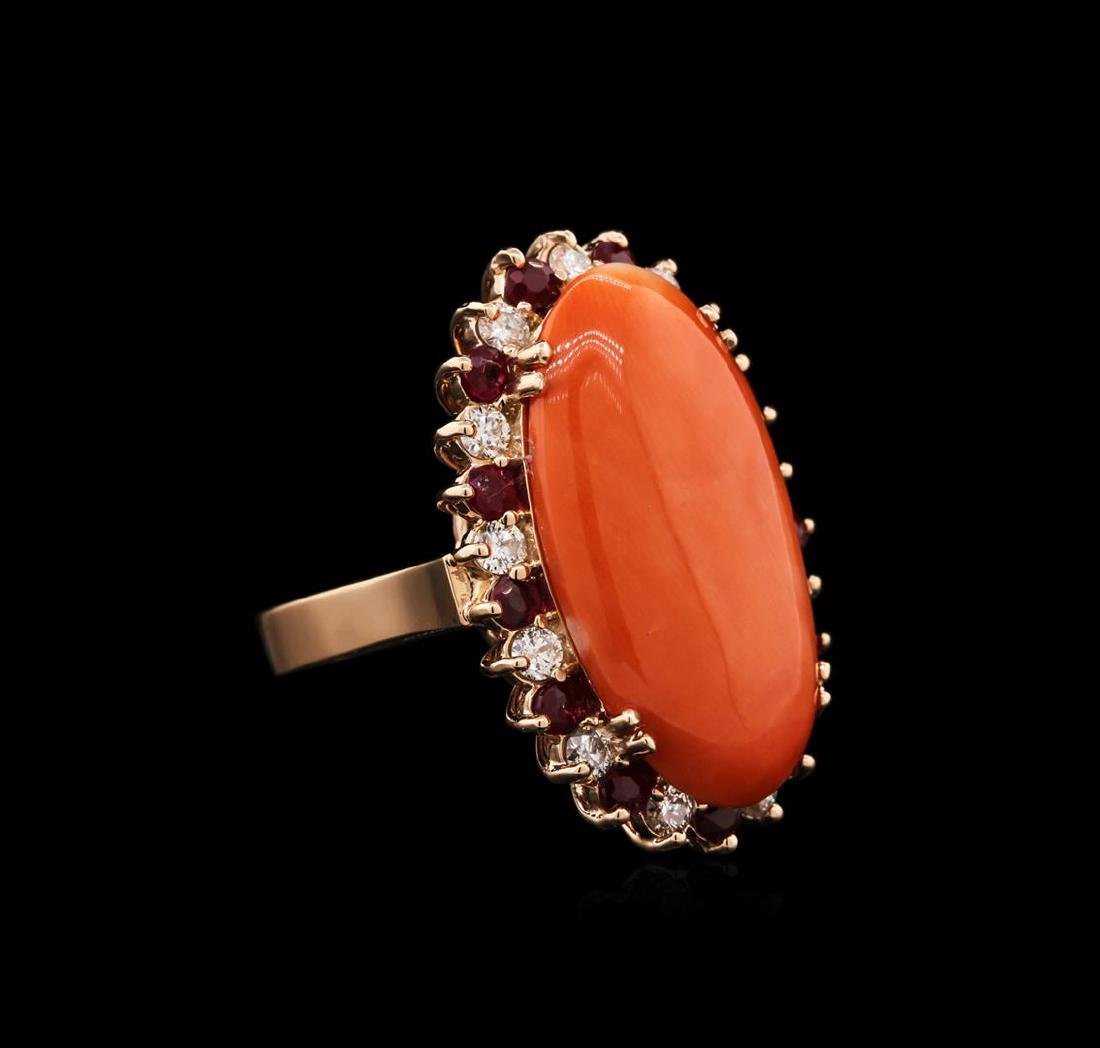 14KT Rose Gold 11.32 ctw Pink Coral, Ruby and Diamond