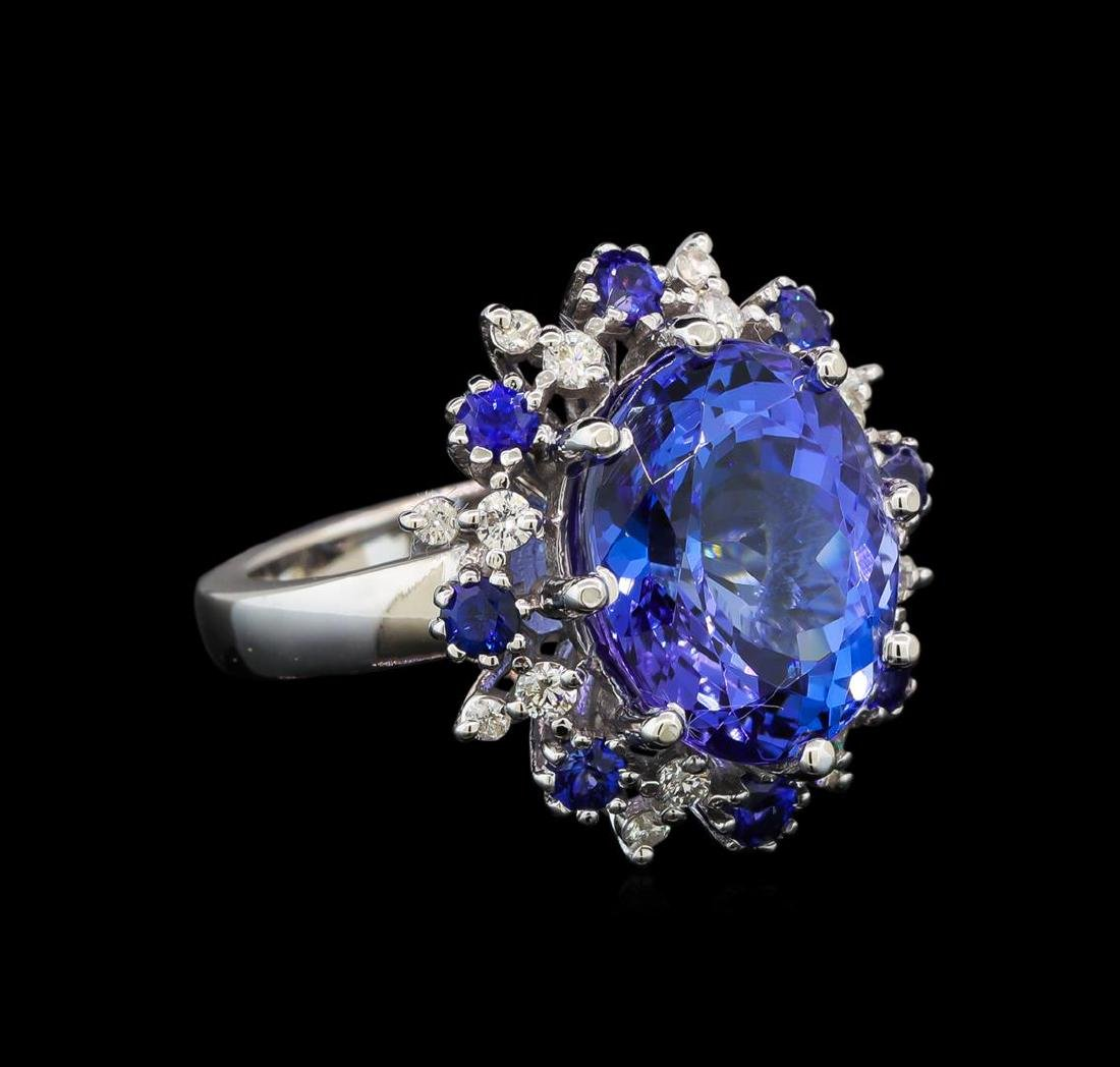 14KT White Gold 9.22 ctw Tanzanite, Sapphire and