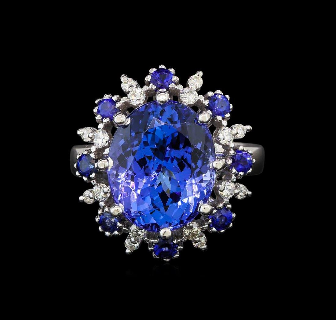 14KT White Gold 9.22 ctw Tanzanite, Sapphire and - 2