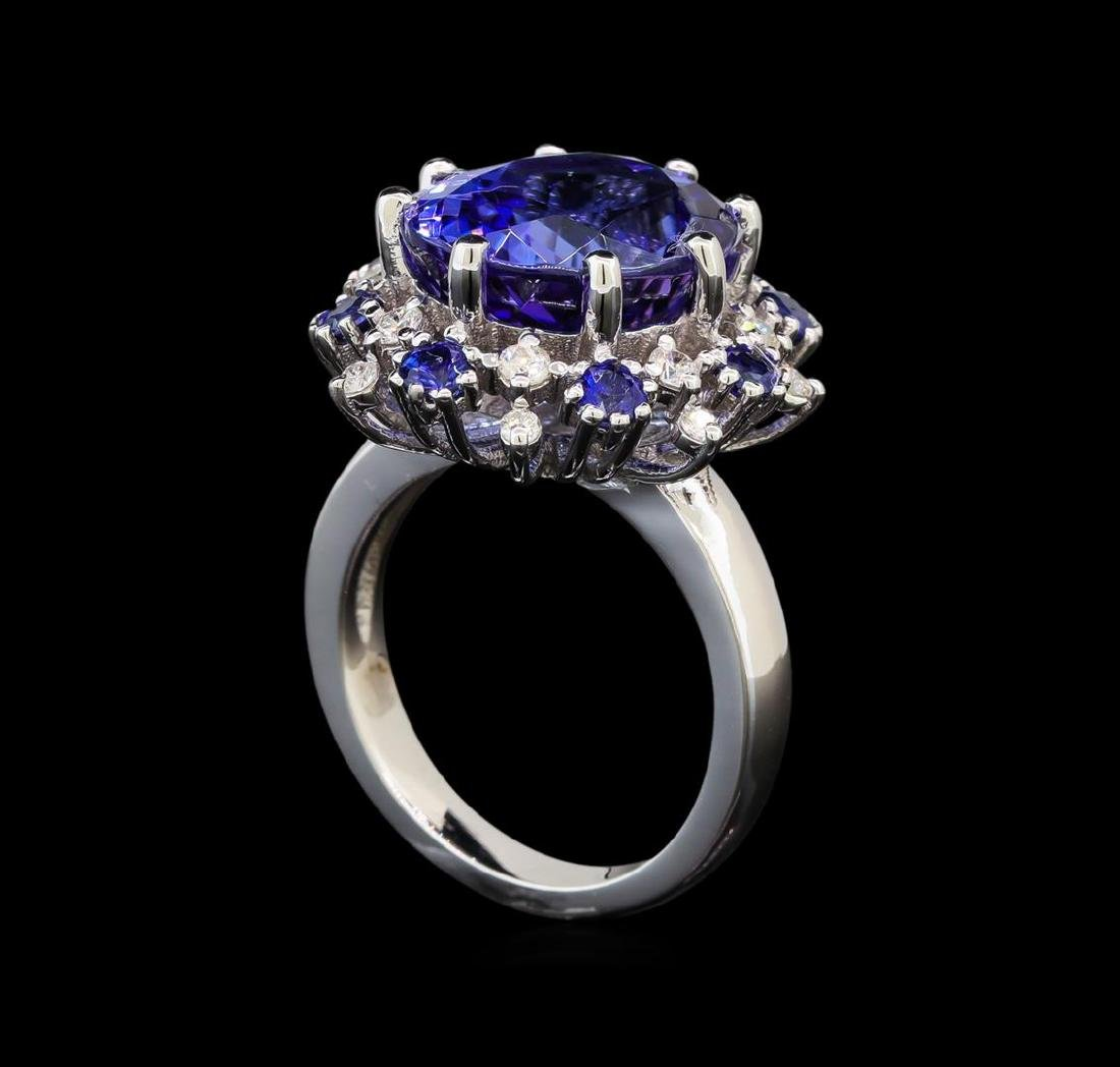 14KT White Gold 9.22 ctw Tanzanite, Sapphire and - 4