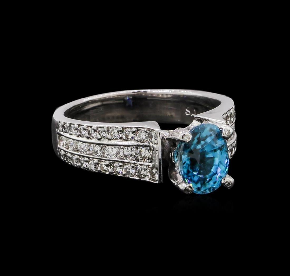 2.25 ctw Blue Zircon and Diamond Ring - 18KT White Gold