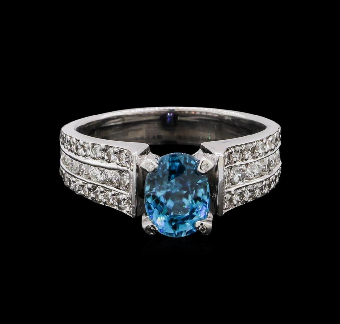 2.25 ctw Blue Zircon and Diamond Ring - 18KT White Gold - 2