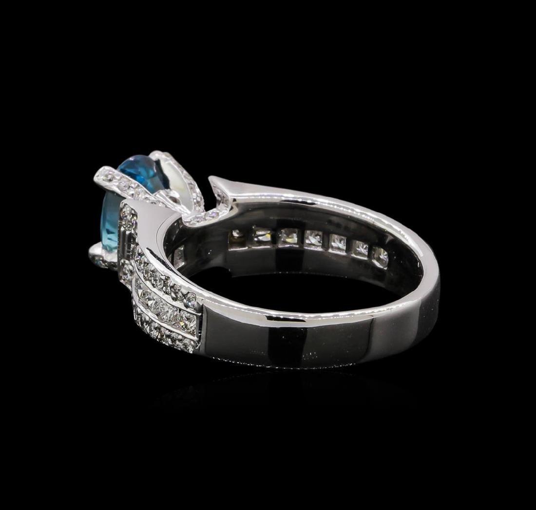 2.25 ctw Blue Zircon and Diamond Ring - 18KT White Gold - 3