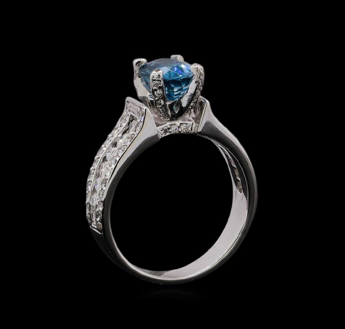 2.25 ctw Blue Zircon and Diamond Ring - 18KT White Gold - 4