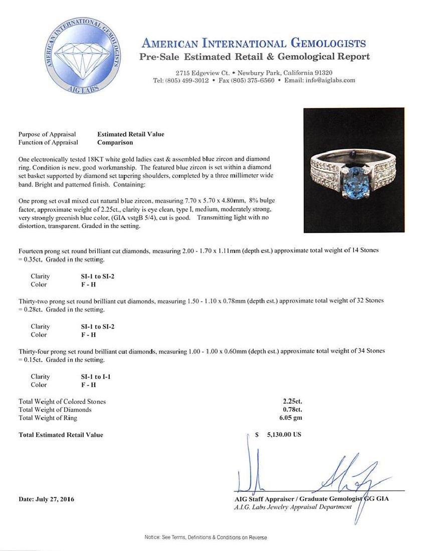 2.25 ctw Blue Zircon and Diamond Ring - 18KT White Gold - 5