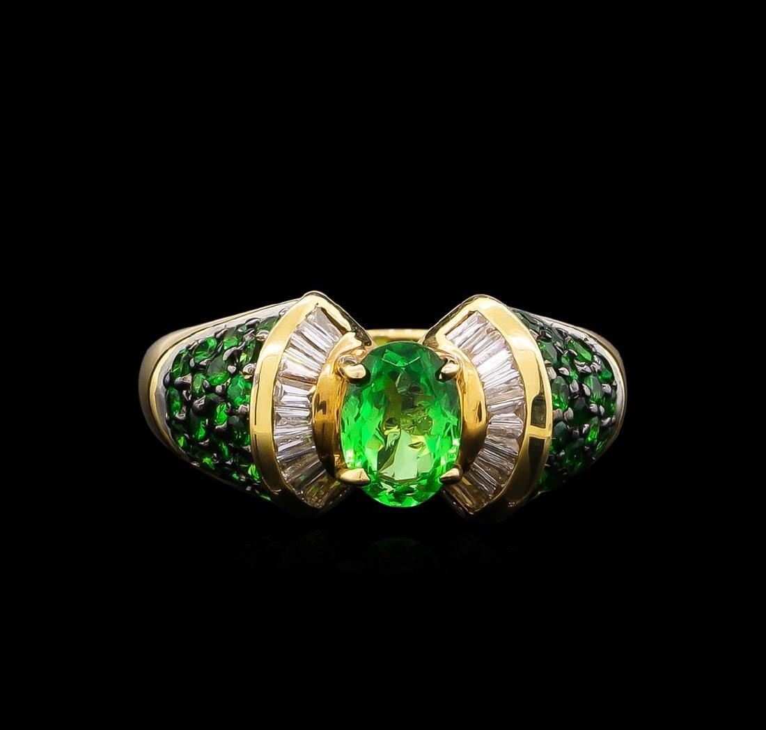 1.57 ctw Tsavorite Garnet and Diamond Ring - 14KT - 2