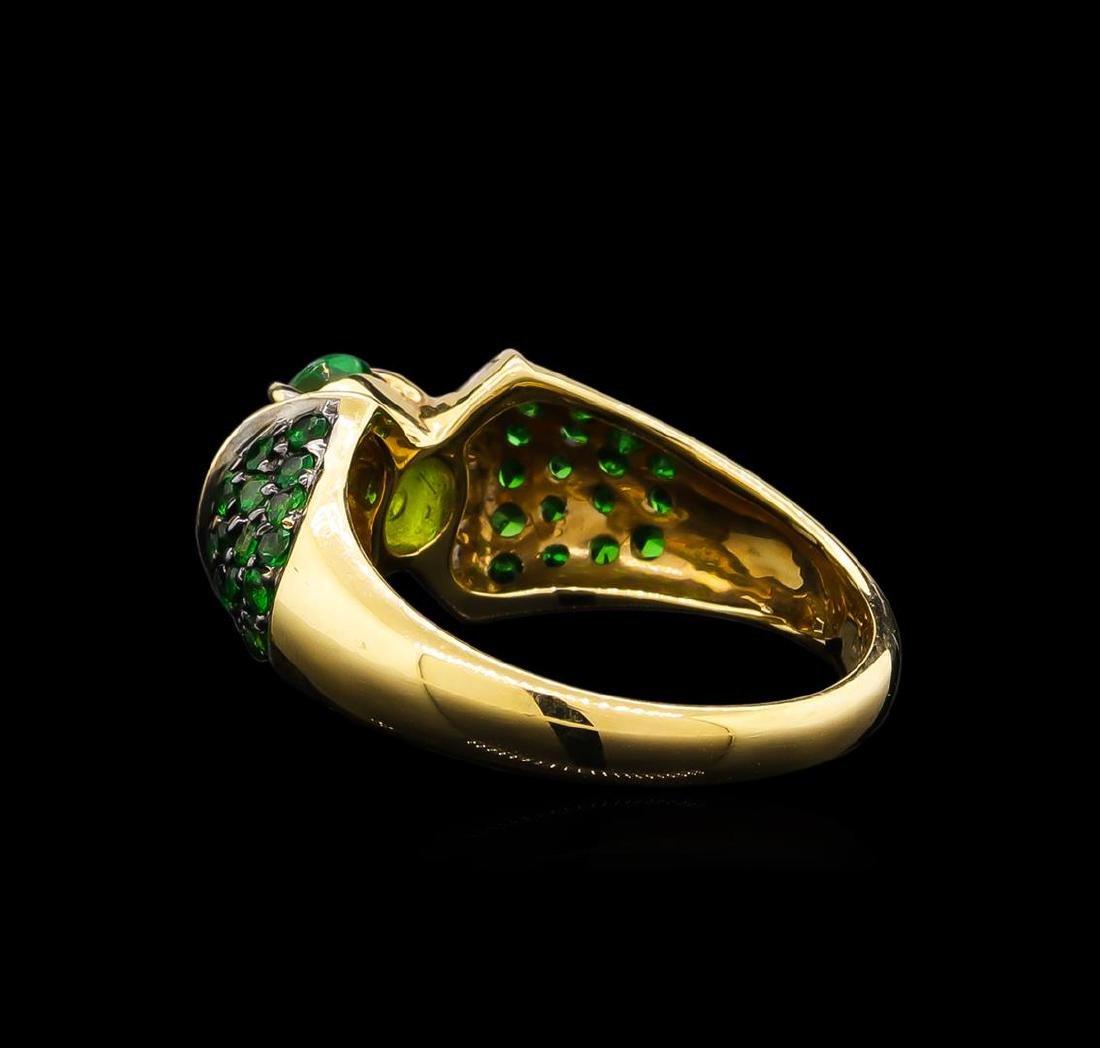 1.57 ctw Tsavorite Garnet and Diamond Ring - 14KT - 3