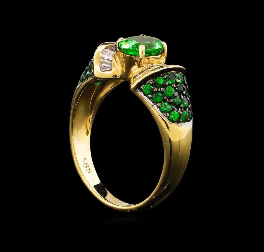 1.57 ctw Tsavorite Garnet and Diamond Ring - 14KT - 4