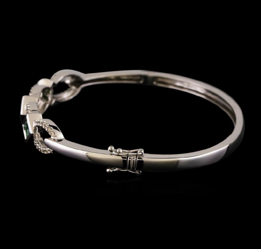 1.09 ctw Diamond Bangle Bracelet - 14KT White Gold - 2
