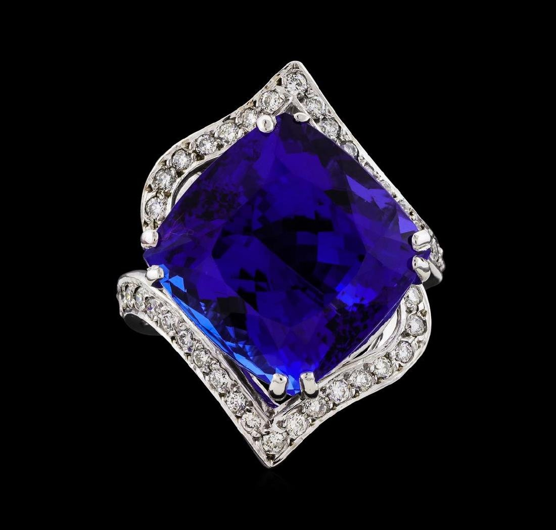 GIA Cert 23.29 ctw Tanzanite and Diamond Ring - 14KT - 2