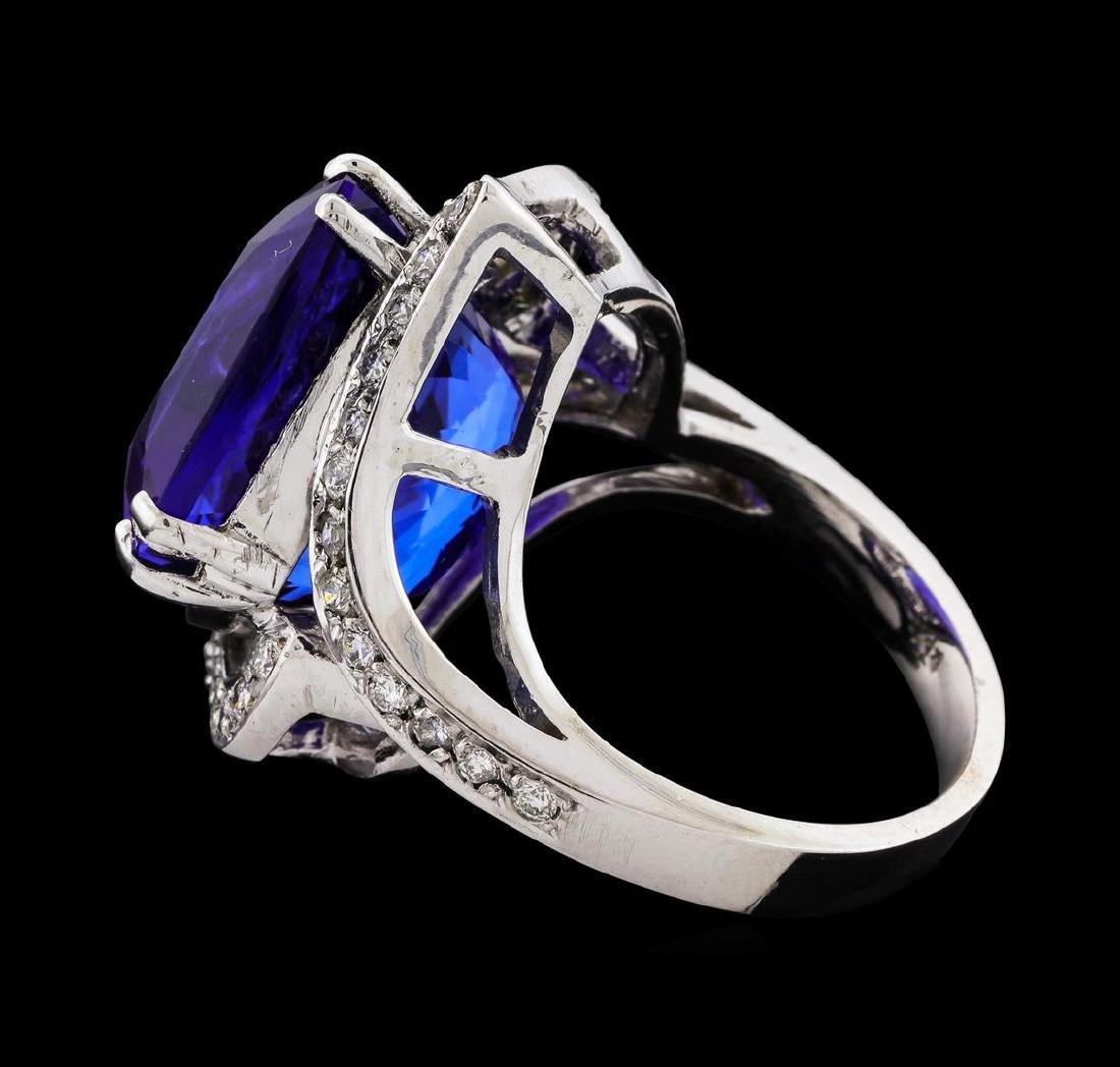 GIA Cert 23.29 ctw Tanzanite and Diamond Ring - 14KT - 3