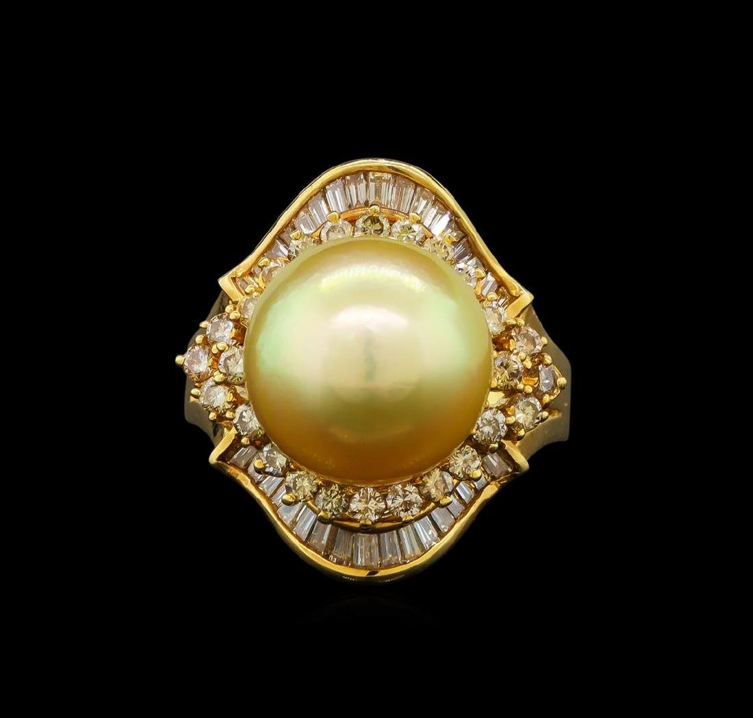 14KT Yellow Gold Pearl and Diamond Ring - 2