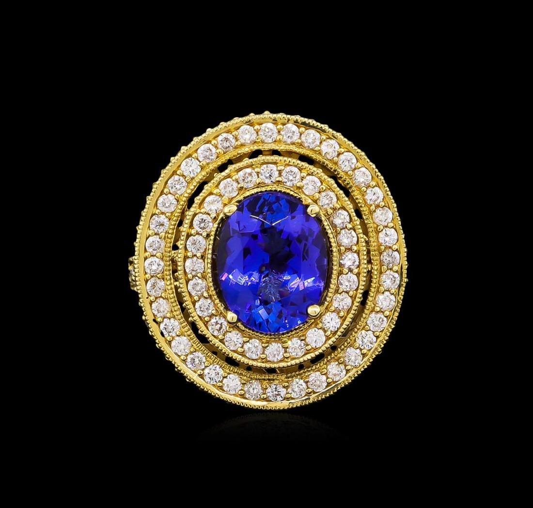 14KT Yellow Gold 3.40 ctw Tanzanite and Diamond Ring - 2