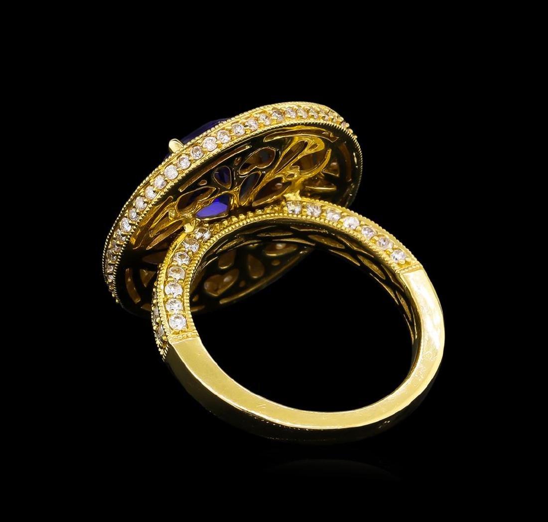 14KT Yellow Gold 3.40 ctw Tanzanite and Diamond Ring - 3