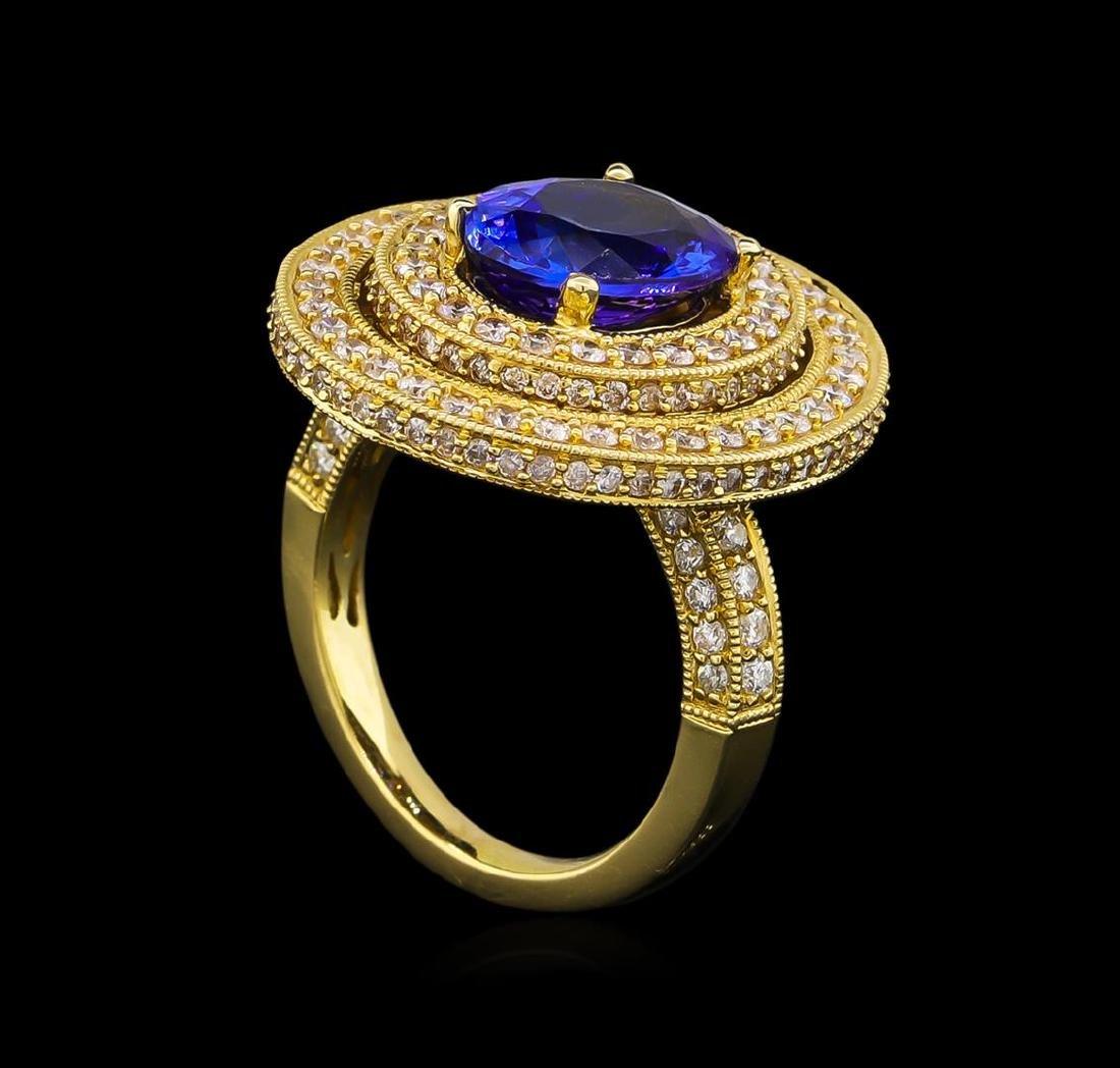 14KT Yellow Gold 3.40 ctw Tanzanite and Diamond Ring - 4