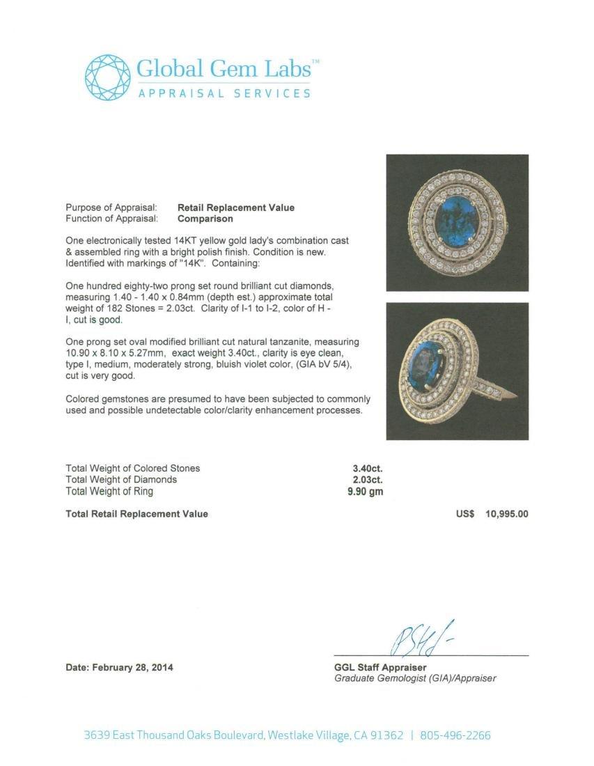 14KT Yellow Gold 3.40 ctw Tanzanite and Diamond Ring - 5