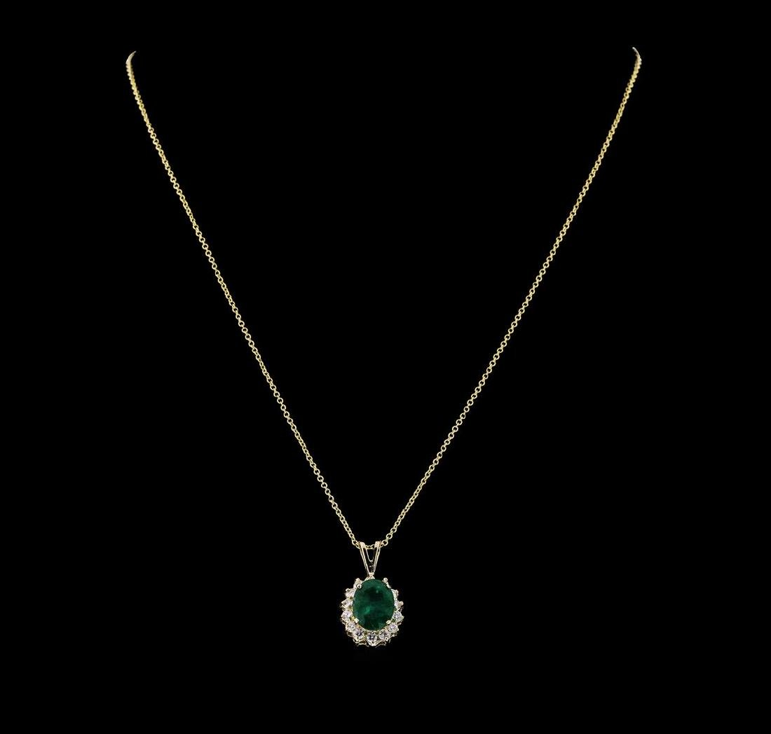 3.10 ctw Emerald and Diamond Pendant With Chain - 14KT