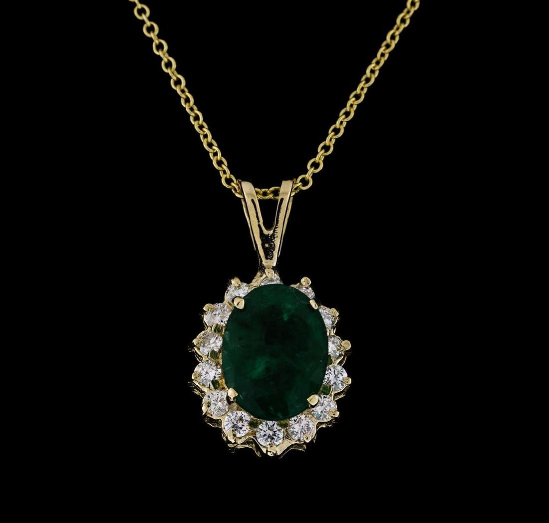 3.10 ctw Emerald and Diamond Pendant With Chain - 14KT - 2