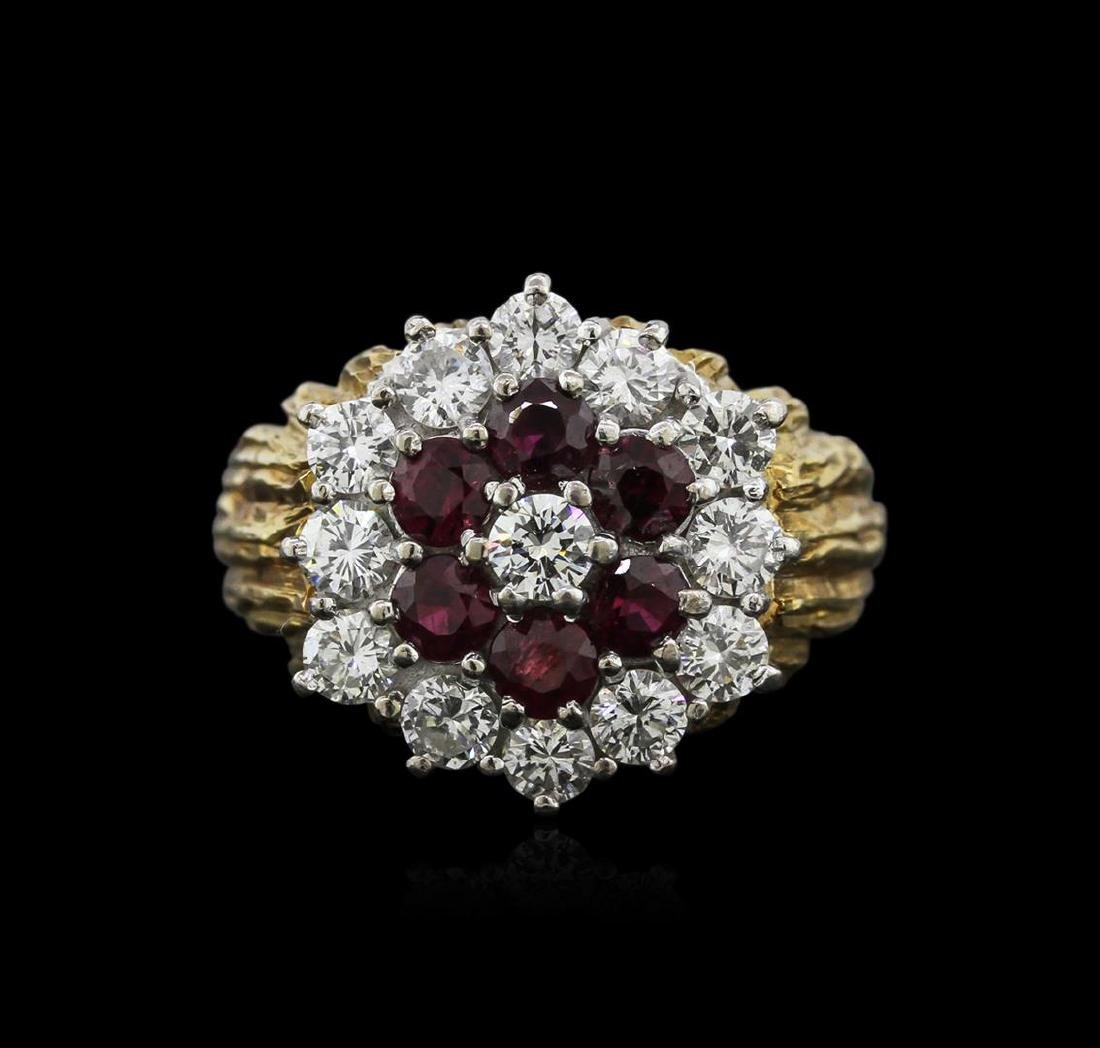 18KT Yellow Gold 1.26 ctw Ruby and Diamond Ring - 2