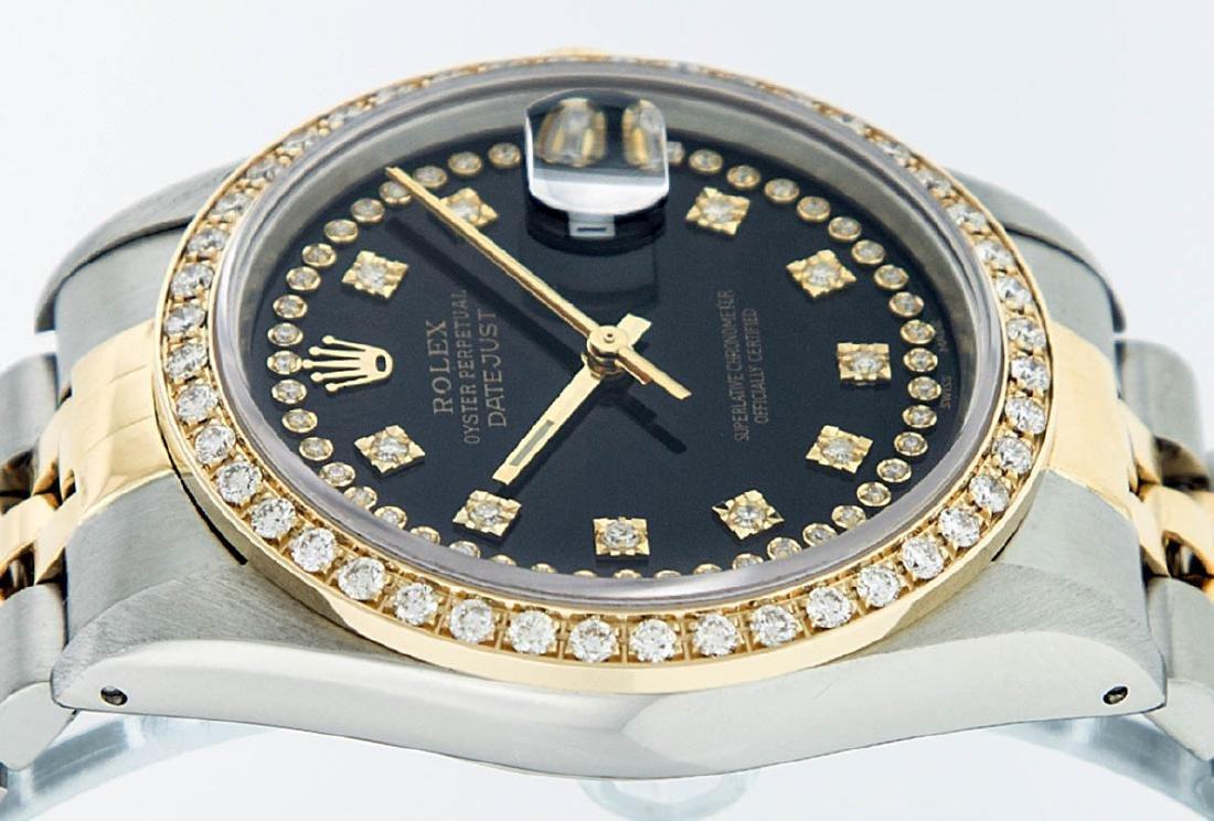 Rolex Mens 2 Tone 14K Black String VS Diamond Datejust - 3
