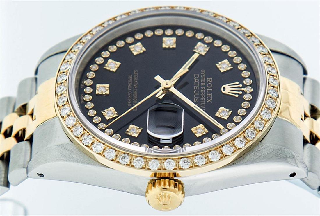 Rolex Mens 2 Tone 14K Black String VS Diamond Datejust - 4