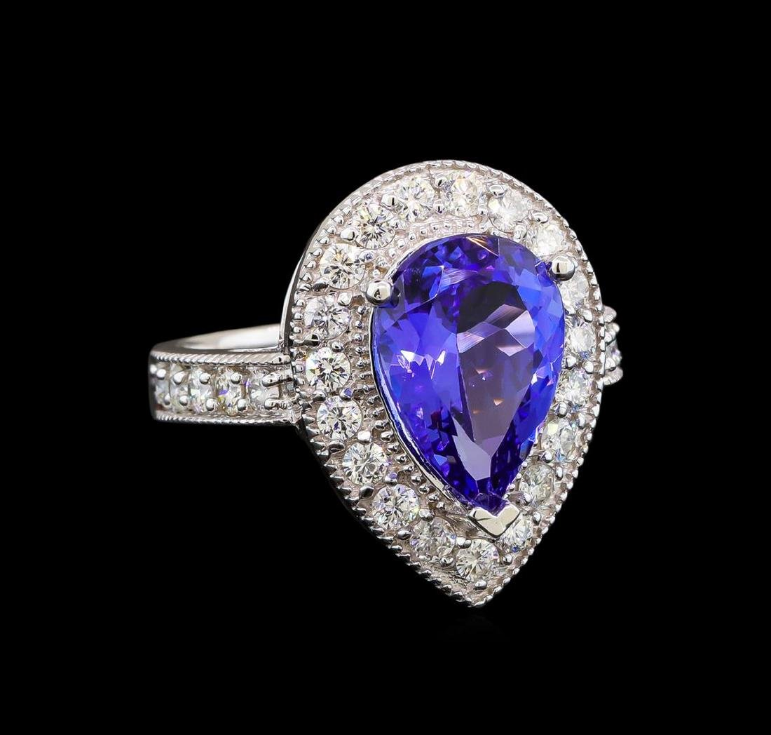 14KT White Gold 4.26 ctw Tanzanite and Diamond Ring