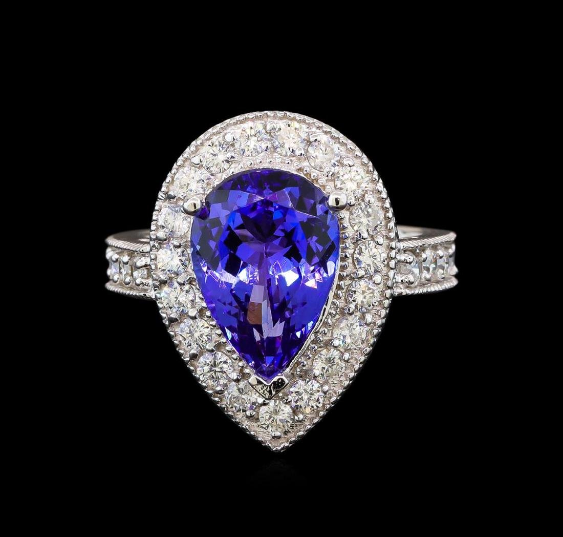 14KT White Gold 4.26 ctw Tanzanite and Diamond Ring - 2