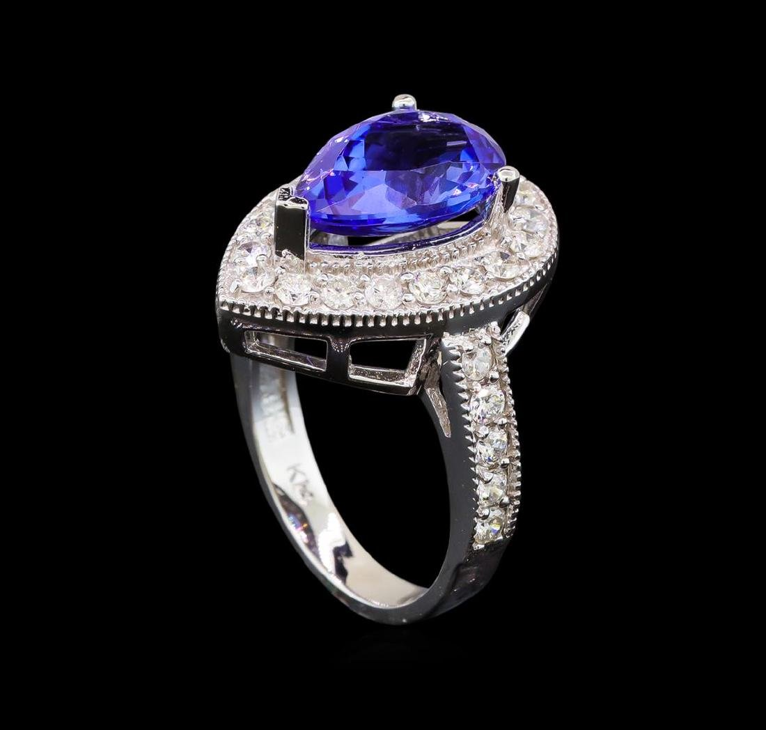 14KT White Gold 4.26 ctw Tanzanite and Diamond Ring - 4