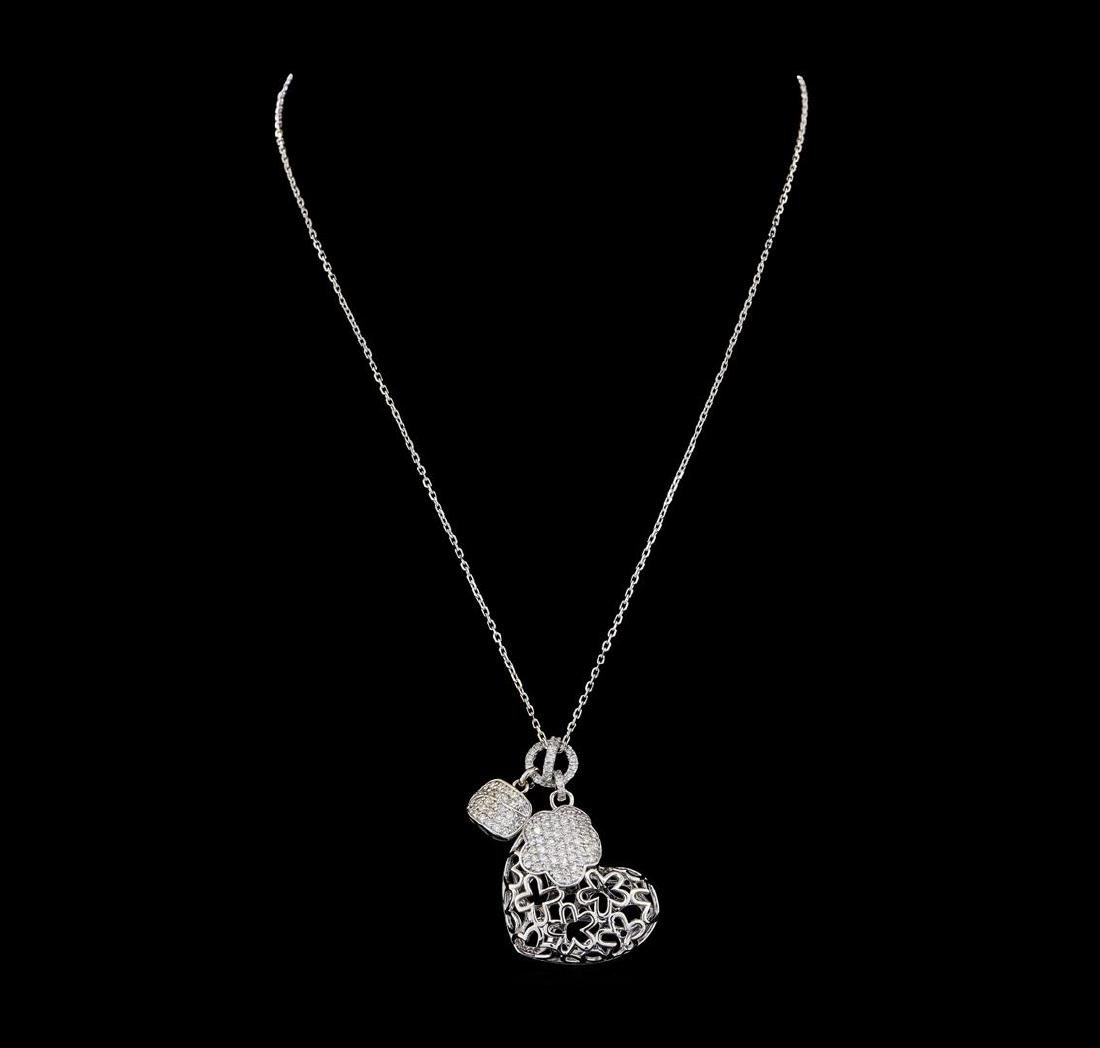 1.29 ctw Diamond Pendant With Chain - 14KT White Gold - 2