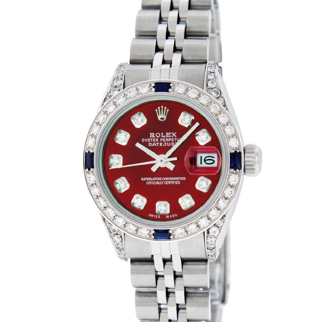 Rolex Ladies Stainless Steel Diamond Lugs & Sapphire - 2