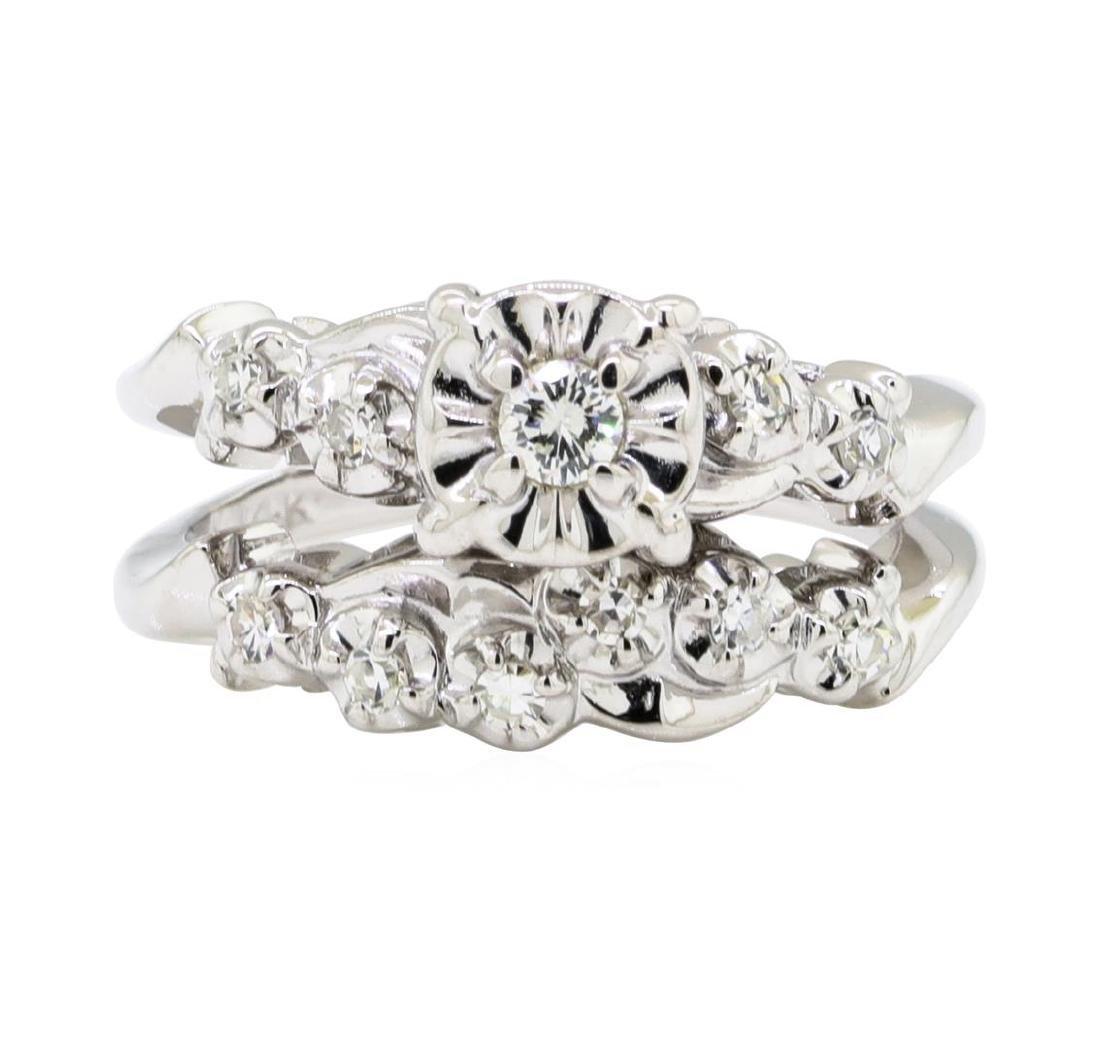 0.35 ctw Diamond Ring - 14KT White Gold - 2