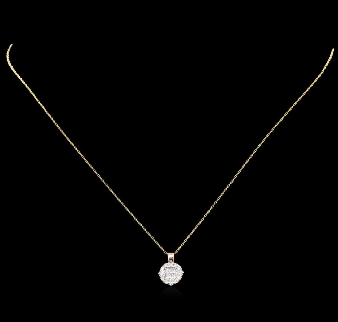 0.40 ctw Diamond Pendant With Chain - 14KT Rose Gold - 2