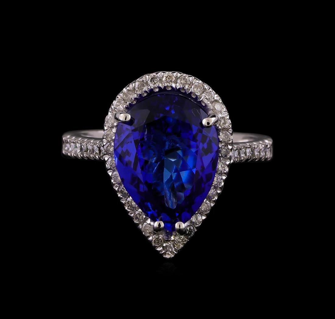 14KT White Gold 5.93 ctw Tanzanite and Diamond Ring - 2