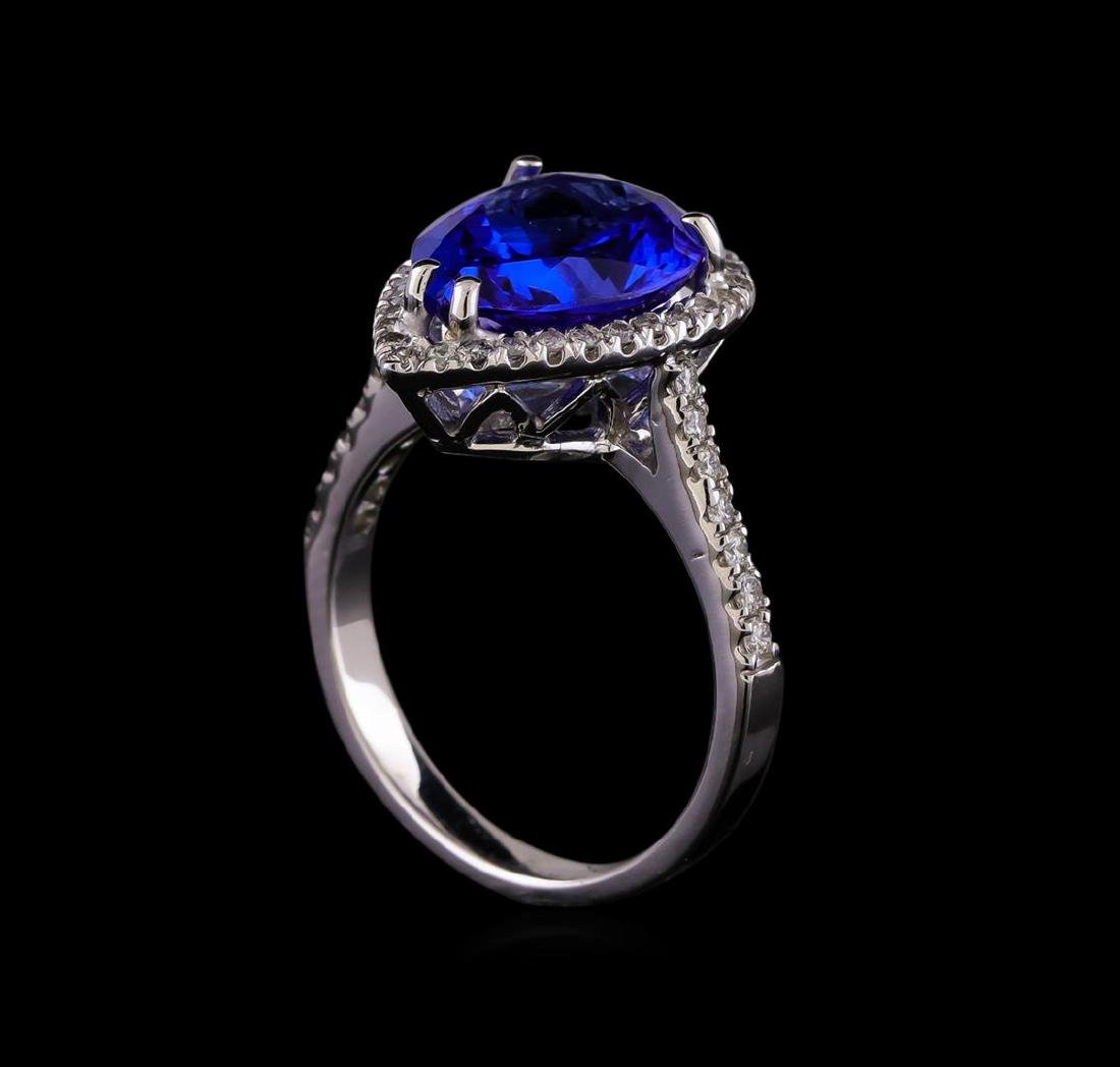14KT White Gold 5.93 ctw Tanzanite and Diamond Ring - 4