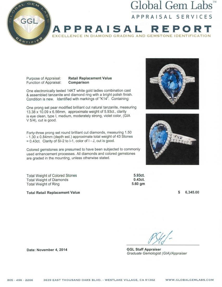14KT White Gold 5.93 ctw Tanzanite and Diamond Ring - 5